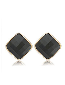 Fashion Green+gold Color Diamond Decorated Hollow Out Irregular Shape Earrings(3pcs)