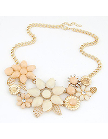 Skinny beige gemstone decorated bauhinia flower design