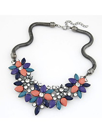 Synthetic multicolor gemstone decorated flower design alloy Fashion Necklaces