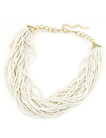 Pewter white beads weave design alloy Chains