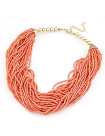 Ethnic orange red beads weave design alloy Beaded Necklaces