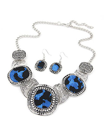 Blank dark blue gemstone decorated round design alloy Jewelry Sets