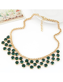 Scene dark green CZ diamond decorated Multi-level design alloy Fashion Necklaces