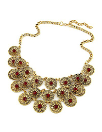 Daisy red CZ diamond decorated flower design alloy Korean Necklaces