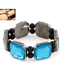 Unusual navy blue gemstone decorated square shape design alloy Fashion Bangles