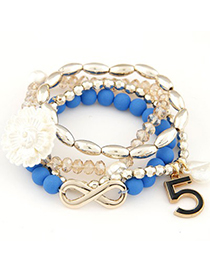Hipster blue flower decorated multilayer design alloy Korean Fashion Bracelet