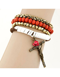 Adjustable orange red Cross decorated multilayer design alloy Korean Fashion Bracelet