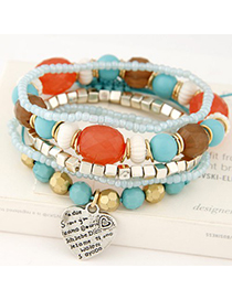 Customized multicolor beads decorated multilayer design alloy Korean Fashion Bracelet