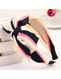 Expired beige bowknot decorated stripe design fabric Hair band hair hoop