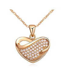 Executive white & champagne gold diamond decorated heart shape design zircon Crystal Necklaces