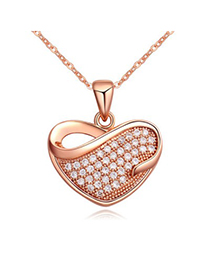 Scottish white & rose gold diamond decorated heart shape design zircon Crystal Necklaces