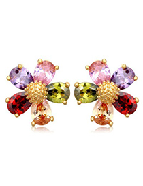 Skinny multicolor gemstone decorated flower design zircon Crystal Earrings