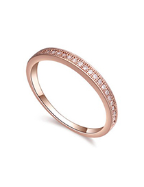 Crinkle white & rose gold round shape simple design zircon Crystal Rings
