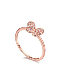 Skinny white & rose gold diamond decorated butterfly shape design zircon Crystal Rings
