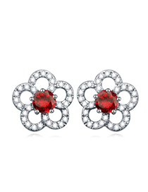Formal red gemstone decorated flower design zircon Crystal Earrings