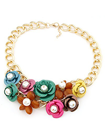 Costume multicolor pearl decorated flower design