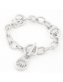 Rebel silver color letter M decorated chain design alloy Korean Fashion Bracelet