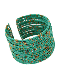 Facial green beads decorated multi-layer design alloy Fashion Bangles