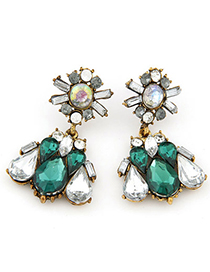 Charm dark green diamond decorated waterdrop shape design alloy Stud Earrings