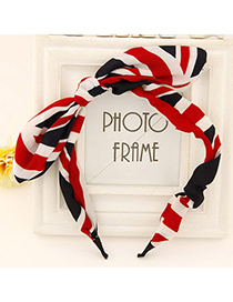 Doggie black & white & red bowknot decorated Stripe design fabric Hair band hair hoop