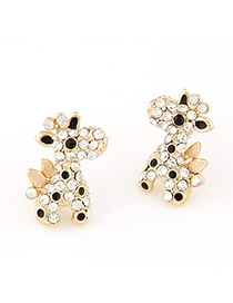 Printed black & white diamond decorated deer shape design alloy Stud Earrings