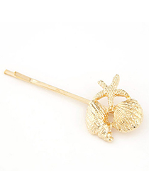 Vintage Gold Color Seashells Shape Decorated Simple Design Alloy Hair clip hair claw