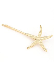 Packaging Gold Color Starfish Shape Decorated Simple Design Alloy Hair clip hair claw