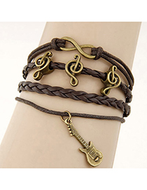 Beige Brown Multielement Decorated Multilayer Design Alloy Korean Fashion Bracelet