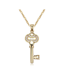 Masculine White & Champagne Gold Diamond Decorated Key Pendant Design Alloy Crystal Necklaces