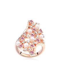 Business Violet & Rose Gold Diamond Decorated Geometrical Shape Design Alloy Crystal Rings