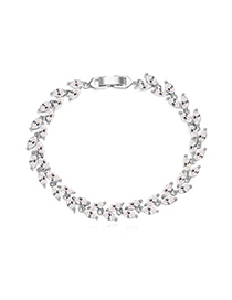 Infinity White Diamond Decorated Leaf Shape Design Zircon Crystal Bracelets