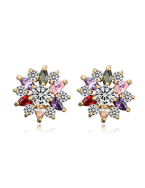 Indie Multicolor & Champagne Gold Diamond Decorated Flower Design Zircon Crystal Earrings