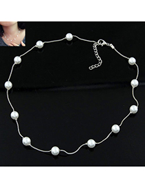 Fashion White Pearl Decorated Simple Design Alloy Chains