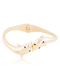 Traditiona Gold Color Dolphins Shape Decorated Simple Design Alloy Fashion Bangles