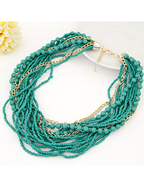 Wool Green Beads Decorated Multilayer Design Alloy Beaded Necklaces