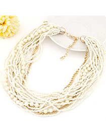 Amethyst Beige Beads Decorated Multilayer Design Alloy Beaded Necklaces