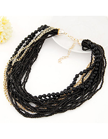 Novelty Black Beads Decorated Multilayer Design Alloy Beaded Necklaces