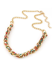 Electric Multicolor bead weave simpel design Alloy Bib Necklaces