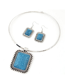 Real Blue Square Pendant Simple Design Alloy Jewelry Sets