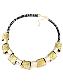 Legal Bronze Square Metal Shape Decorated Simple Design Alloy Korean Necklaces