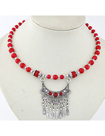 Marathon Red Beads Decorated Tassel Design Alloy Bib Necklaces