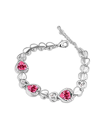 Birthing Plum Red Hollow Out Heart Shape Decorated Simple Design Alloy Crystal Bracelets