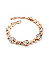 Packaging White & Champagne Gold Hollow Out Heart Shape Decorated Simple Design Alloy Crystal Bracelets