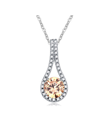 Christenin Champagne Color Diamond Decorated Geometric Shape Pendant Design Alloy Crystal Necklaces