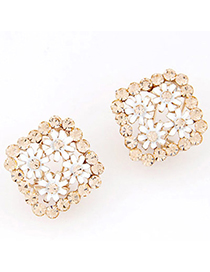 Stationary White Flower Decorated Square Shape Design Alloy Stud Earrings