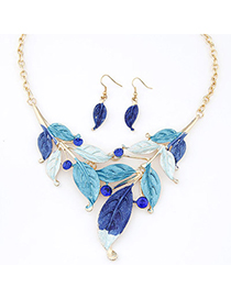 Celtic Blue Diamond Decorated Leaf Shape Design Alloy Jewelry Sets