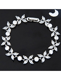 High White Diamond Decorated Flower Design Alloy Crystal Bracelets
