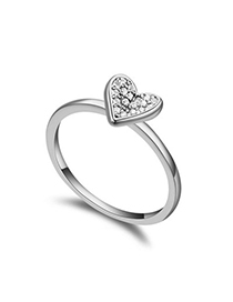 Cubic White Heart Shape Decorated Simple Design Zircon Crystal Rings