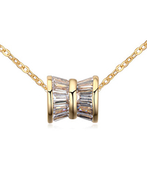 Portable White & Champagne Gold Shaft Shape Pendant Simple Design Zircon Crystal Necklaces