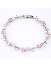 Decorative Pink Diamond Decorated Leaf Shape Design Zircon Crystal Bracelets